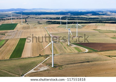 wind turbines aerial view - stock photo