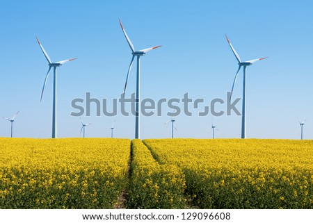 Wind Turbines - alternative energy - stock photo