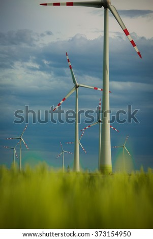 Wind Turbines - alternative energy source - stock photo
