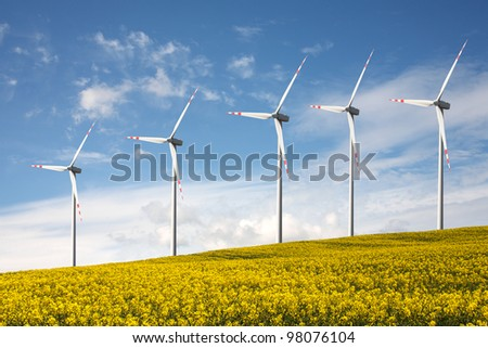 Wind Turbines,alternative energy source - stock photo