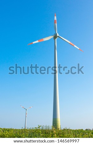 Wind turbines and green fields