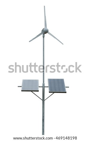 Wind turbines and solar cells isolated on white background. Clipping path