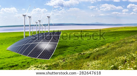 Wind turbines and solar panels - stock photo