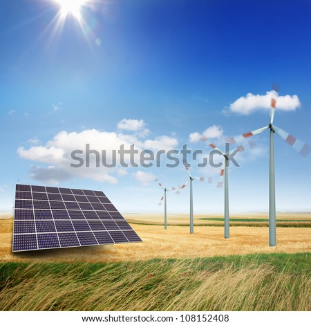 Wind turbines and solar panels generate electricity