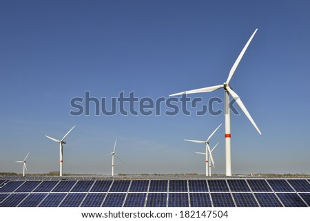 Wind turbines and solar panels in Nord Friesland Germany