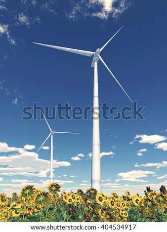 Wind turbines and sunflowers Computer generated 3D illustration