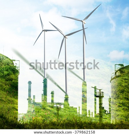 Wind turbines and tree on green meadow in summer. Eco energy concept, double exposure
