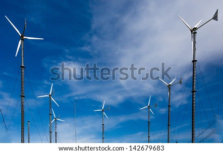 Wind turbines at Koh Lan Pattaya Thailand