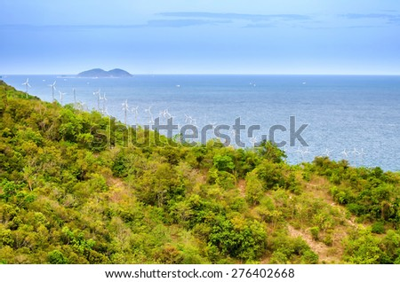 wind turbines at koh larn in Pataya , Thailand - stock photo