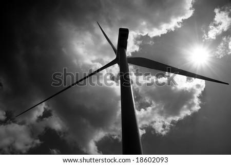 wind turbines black and white - stock photo