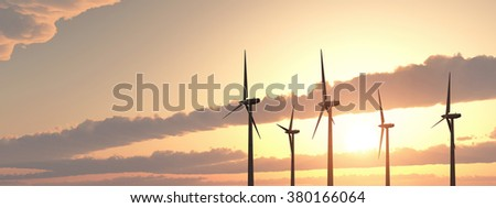 Wind turbines Computer generated 3D illustration - stock photo
