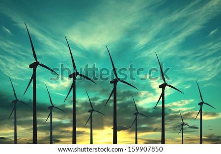 Wind turbines, eco energy - stock photo