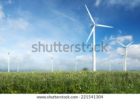 wind turbines farm in Germany - stock photo