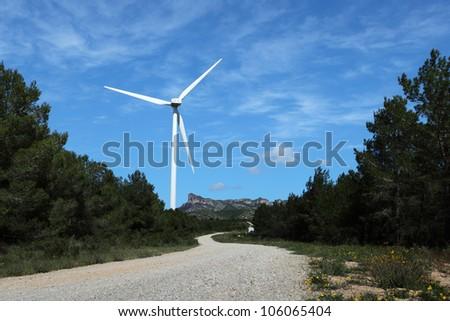 Wind turbines farm in spain - stock photo