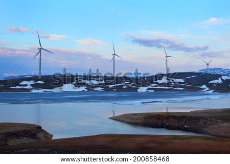 Wind turbines farm.Norway