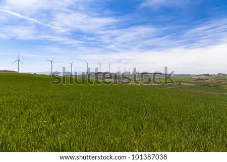 Wind turbines for renewable energy conversion located in Tarragona - stock photo