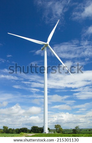 Wind turbines generated electricity in the natural park