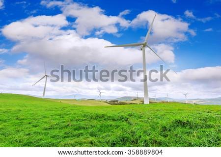 Wind turbines generating electricity.Eco Green Campus in South Korea. (Daegwallyeong Samyang Ranch) - stock photo