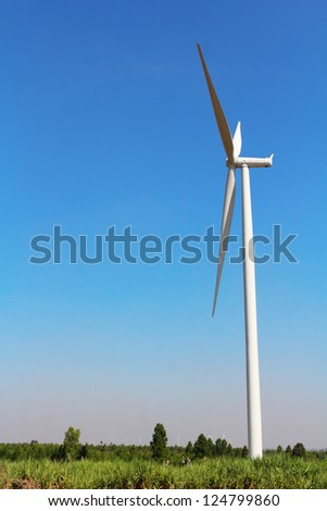Wind turbines generating electricity,  in nakhonratchasima city at thailand - stock photo