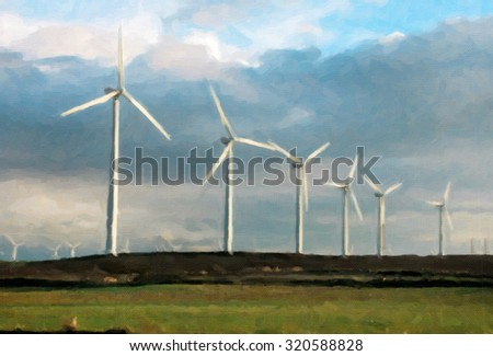 Wind turbines generating electricity on green meadow - stock photo