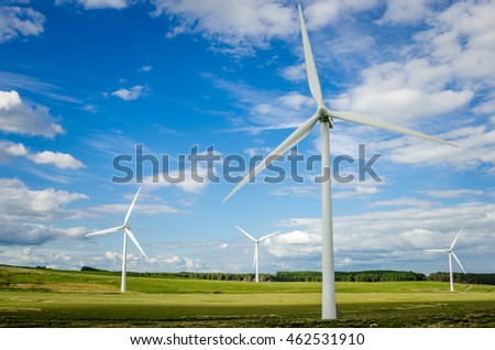 Wind Turbines in a Green Field and Blue Sky.
