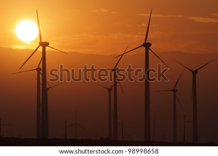 Wind Turbines in California - stock photo