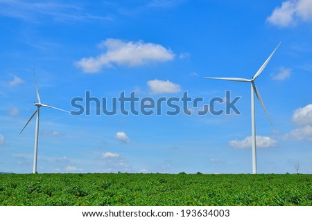 Wind Turbines in Cassava Fields
