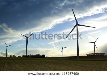 Wind turbines in French countryside