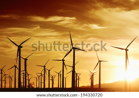 Wind turbines in golden sunset, Palm Springs, CA. - stock photo