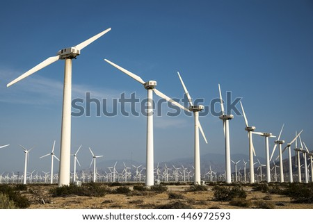 wind turbines in Palm Springs, California