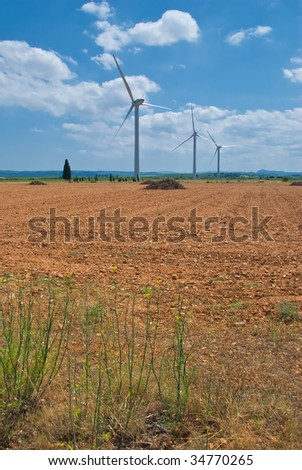Wind turbines in rural France