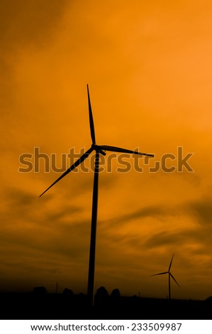 Wind Turbines in Silhouette