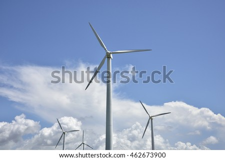 Wind turbines in the blue sky Bai Yunshang windmills