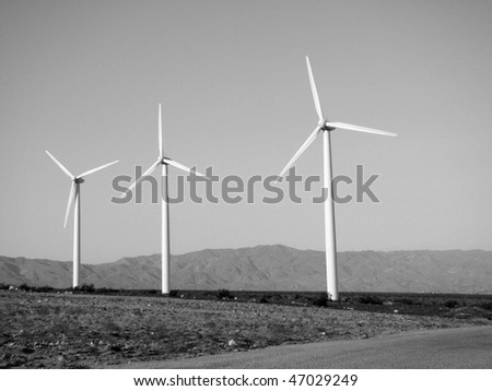 Wind Turbines in the Desert of Southern California Near Palm Springs in Black and White