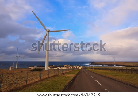 Wind turbines in the far north of Scotland
