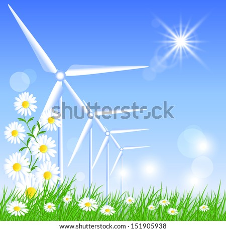 Wind turbines in the field and sun - stock photo