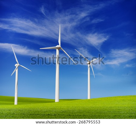 wind turbines in the green hills