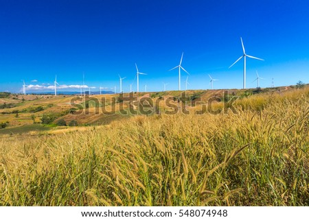 wind turbines in the khao kho park, Thailand.