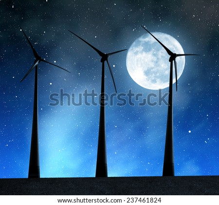 """Wind turbines in the night sky with moon. """"Elements of this image furnished by NASA"""". - stock photo"""