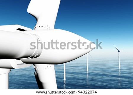 Wind Turbines in the Sea - stock photo