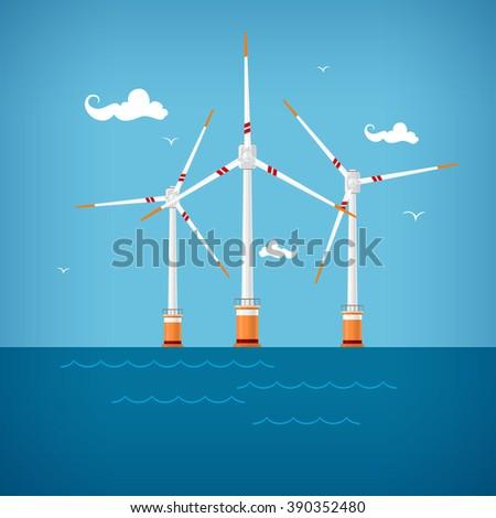 Wind Turbines in the Sea, Horizontal Axis Wind Turbines in the Sea  off the Coast ,Offshore Wind Farm - stock photo