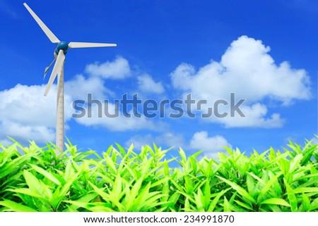 Wind Turbines in wind farm field - stock photo