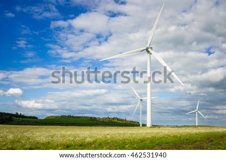 Wind Turbines ina Grassy Field and Blue Sk.  Renewable Energy