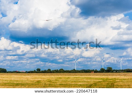 Wind turbines. meadow with wind turbines - stock photo