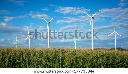 Wind turbines on a beautiful field