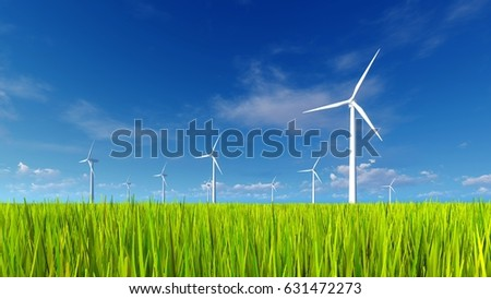 Wind turbines on a field covered with fresh green grass against blue sky with clouds background at sunny spring day. 3D illustration from my own 3D rendering file.