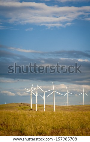 Wind turbines on a hill in Western Washington