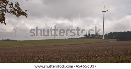 wind turbines on field in Sudetenland near czech-bavarian boundaries