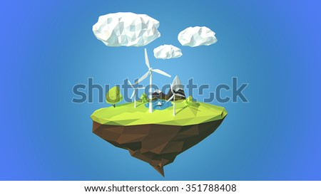 Wind turbines on floating island, low poly style. - stock photo