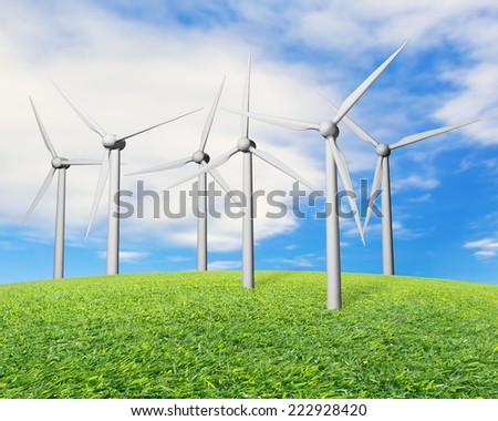 wind turbines on grass with nature sky background